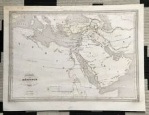 Carte géographique 19ème numérotée géographie des HEBREUX