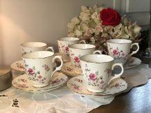 6 Tasses anglaises avec soucoupes Anciennes