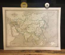 Carte géographique 19ème numérotée Empire des Mongols