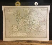 Carte géographique 19ème numérotée Empire de Charlemagne
