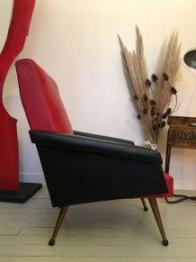 Fauteuil en skaï rouge et noir Rockabilly