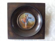 Peinture miniature  Portrait de Galant  Signée LYDIC