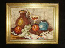 Canevas vintage scène pots et fruits cadre doré