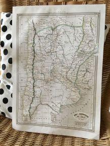 Carte géographique 19ème numérotée ARGENTINE CHILI