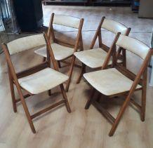 lot de 4 chaises pliante bois 1940 a 60