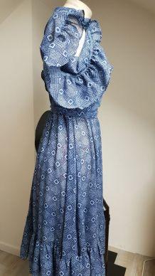 robe bleu vintage fait main pièce unique