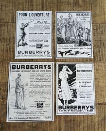 Lot 4 publicités années 30 BURBERRYS