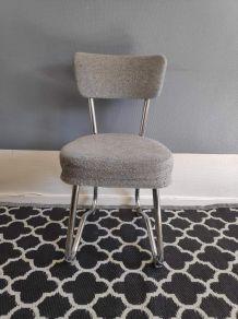 """chaise de bureau """"traineau"""" tissu gris et métal tubulaire"""