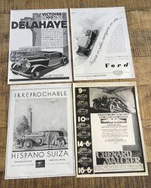 Lot 4 publicités années 30 Auto diverses marques