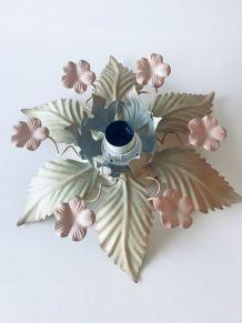 Plafonnier vintage fleurs en métal