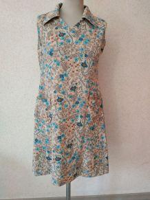 Robe vintage bleu sans manche