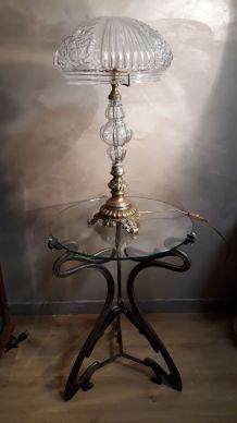 tres grand lampe pied bronze et verre