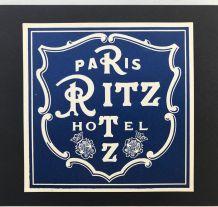 """RARE ! Etiquette bagage """"Hotel Ritz"""" originale début XXe"""