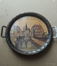 Plateau de 1940 bois et verre Strasbourg