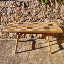 Table en rotin et céramique 1960