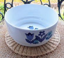 Saladier vintage fleurs bleues