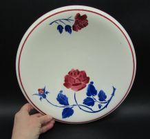 ancien plat à pain faience Badonviller décor de rose