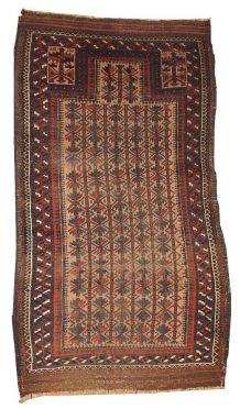 Tapis ancien prière Afghan Baluch fait main, 1B219