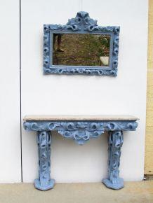 Miroir biseauté sur console et marbre, Rococo