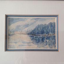 """Aquarelle """"au bord du lac"""""""