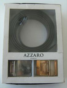ceinture cuir Azzaro coffret boucles dorées argentés mode