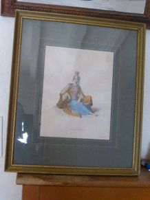 Ancienne gravure orientalisme encadree, La femme de Mitylene