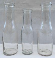 Trio de bouteilles anciennes large col