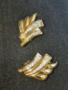 Nina Ricci clips d'oreilles doré strass