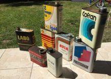 Lot de bidons huiles Anciens Déco Vintage Garage