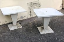 Tables Tolix Kub blanches
