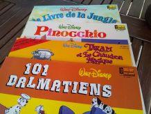 Pack de 4 Vinyles Dessins Animés avec livrets histoires