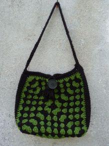 tricoté mains sac laine ajouré noir/vert