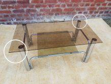 Table verre et chrome 1970