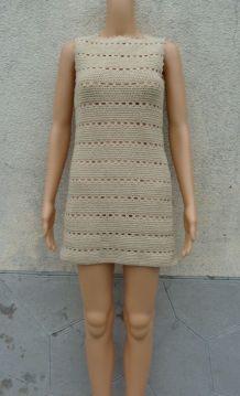 robe crochet faite mains 1968 taille 34