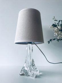 Lampe en cristal et lin