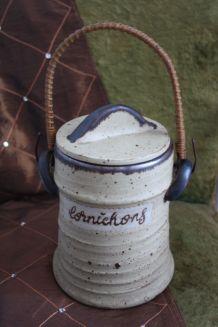 POT A CORNICHONS EN GRES AVEC COUVERCLE