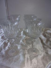 6 Verres à eau en cristal de Saint Louis, modèle Tommy