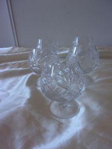 5 verres à cognac en cristal ciselé