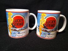 Lot de 2 mugs Lucky strike neufs