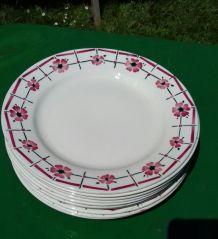 """10 assiettes plates vintage """"Monique"""" de Céranord"""