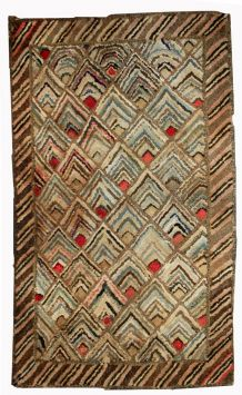 Tapis ancient Américain Hooked fait main, 1B497