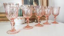 Lot de 6 Verres à Vin blanc en verre dépression rose ROSALIN