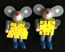 Couple de souris articulées en bois peint, 8 cm