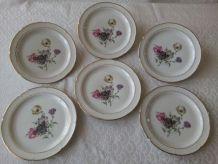 6 assiettes plates Porcelaine de LIMOGES