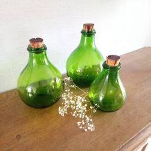 Trio de bouteilles vertes, fabrication italienne