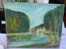 Tableau le moulin au bord du fleuve vintage 1950,non signé