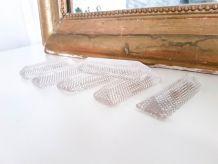 Lot de 6 porte-couteaux en verre bullé vintage Porte couteau