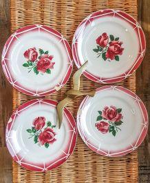 Lot Assiettes cassées x4 Digoin Sarreguemines Rose rouge Por