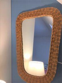 Miroir rétroviseur osier vintage 65cm x 43cm