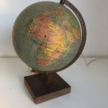 Globe terrestre Girard Barrère verre vintage 1960 - 29 cm